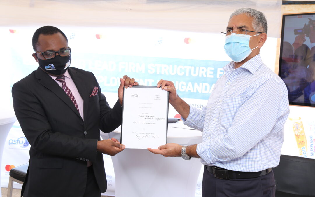 """Mukwano partners with  PSFU on a project dubbed """"The Lead Firm Structure Project"""" to create jobs for Youth"""